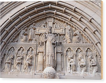 Carved Stone Biblical Mural Above Catholic Cathedral Doorway  Wood Print by Gary Whitton