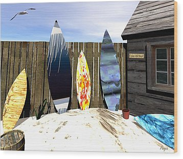 Wood Print featuring the digital art Casa Del Surf by John Pangia