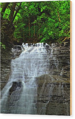 Cascading Falls Wood Print by Frozen in Time Fine Art Photography