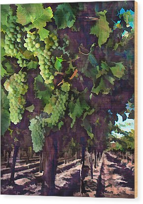 Cascading Grapes Wood Print by Elaine Plesser