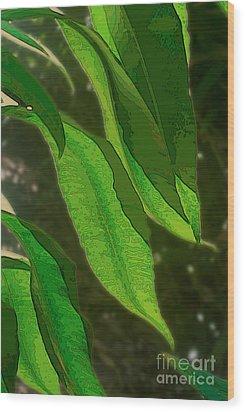 Cascading Leaves Wood Print