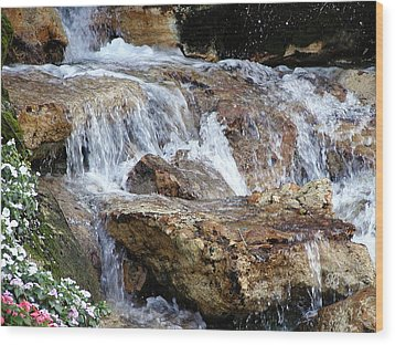 Cascading Water Wood Print by Barbara Middleton