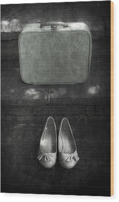 Case And Shoes Wood Print by Joana Kruse