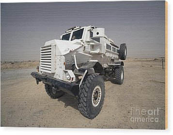 Casper Armored Vehicle Sits Wood Print by Terry Moore