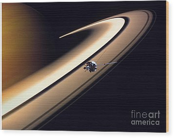 Cassini Spacecraft Wood Print by Gil Babin and Photo Researchers