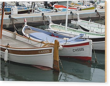 Cassis Harbor Wood Print by Carla Parris
