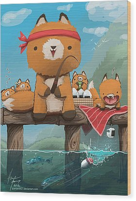 Cast Away Your Problems Go Fishing Wood Print by Hunter Mooney
