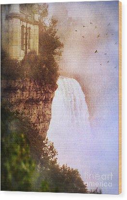 Castle At The Edge Of The Falls Wood Print by Jill Battaglia