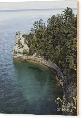 Castle Rock Shoreline Wood Print by Anne Raczkowski
