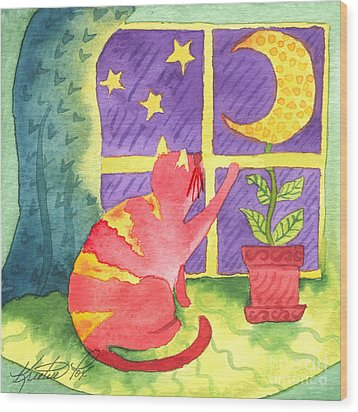 Cat And Moon Wood Print by Kristen Fox