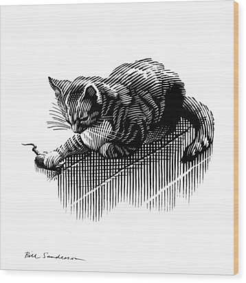 Cat And Mouse, Artwork Wood Print by Bill Sanderson
