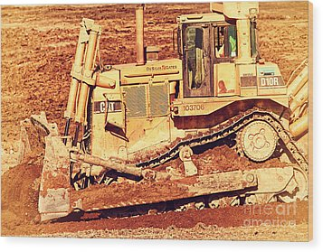 Cat Bulldozer . 7d10945 Wood Print by Wingsdomain Art and Photography