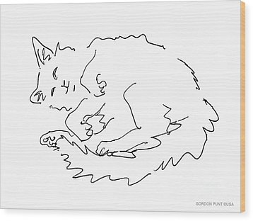 Cat-drawings-black-white-1 Wood Print by Gordon Punt