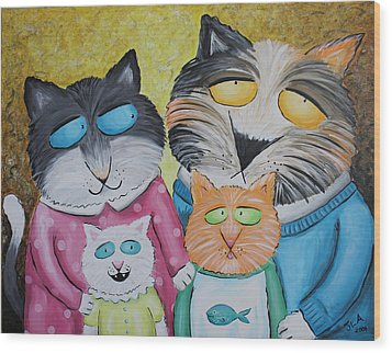 Cat Family Portrait Wood Print by Jennifer Alvarez