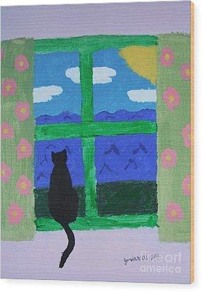 Cat In Window Wood Print by Jeannie Atwater Jordan Allen