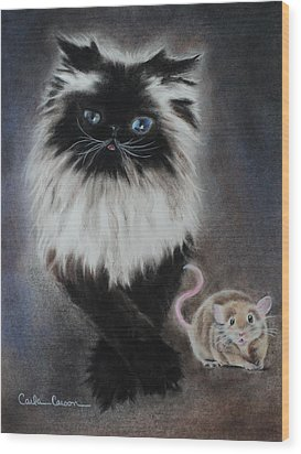 Cat N Mouse Say Cheeeeeeese Wood Print