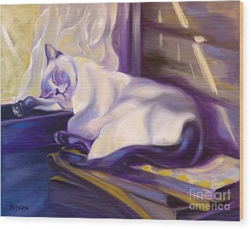 Cat Nap In The Office Wood Print by Susan A Becker