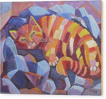 Cat Nap Wood Print by Saga Sabin