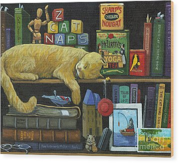 Cat Naps - Old Books Oil Painting Wood Print by Linda Apple