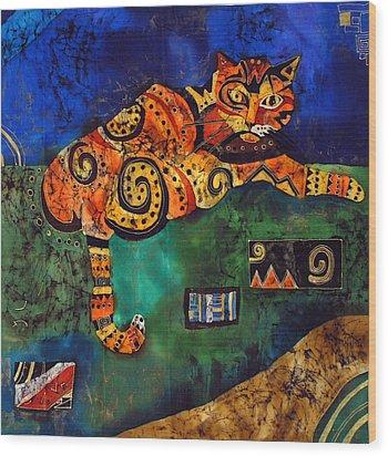 Cat Wood Print by Sandra Kern