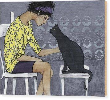 Cat Talk Wood Print by Georgiana Chitac