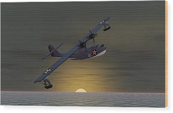 Wood Print featuring the digital art Catalina Sunset by Walter Colvin