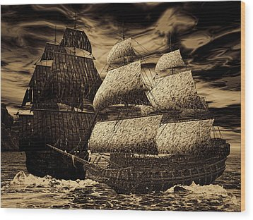 Catastrophic Collision-sepia Wood Print by Lourry Legarde