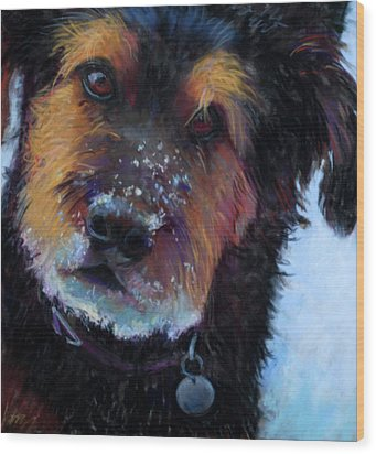 Catching Snowballs Wood Print by Billie Colson