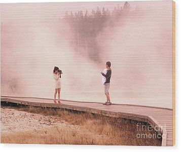 Catching The Steam In Yellowstone Wood Print by Ann Johndro-Collins