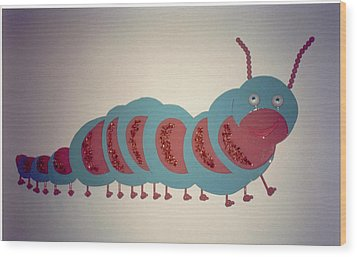 Caterpillar Wood Print by Val Oconnor