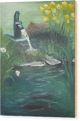 Wood Print featuring the painting Catfish by Angela Stout