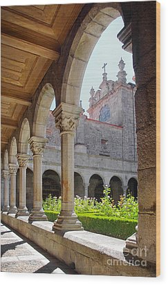Cathedral Cloister Wood Print by Carlos Caetano