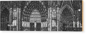 Wood Print featuring the photograph Cathedral In The Snow Panorama by Andy Prendy