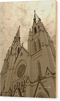 Cathedral Of St John The Baptist In Sepia Wood Print by Suzanne Gaff