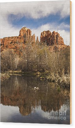 Cathedral Rock Reflections Portrait 1 Wood Print by Darcy Michaelchuk