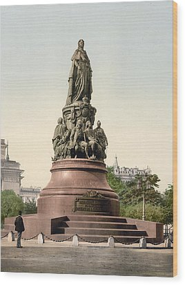 Catherine II Monument In St. Petersburg Russia Wood Print by International  Images