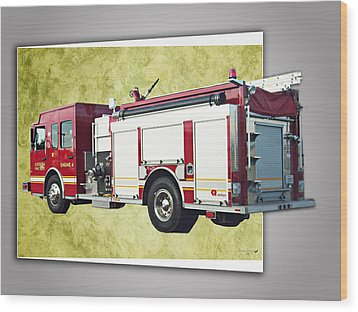 Catoosa Fire Engine 4 Wood Print by Linda Deal