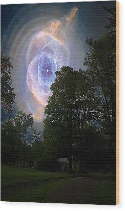 Cat's Eye Nebula From Earth Wood Print
