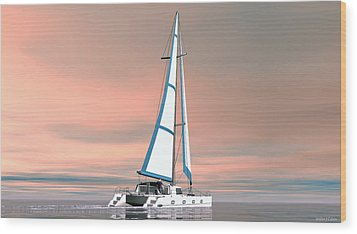 Wood Print featuring the painting Catsailing Sunset by Walter Colvin