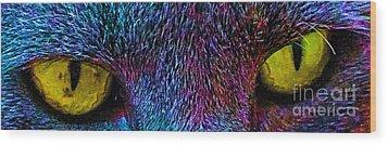 Catz Eyez Wood Print by Tammy Herrin