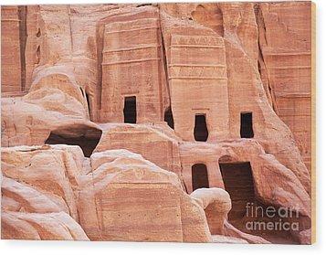 Cave Dwellings Petra. Wood Print by Jane Rix