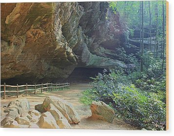 Wood Print featuring the photograph Cave Entrance by Myrna Bradshaw