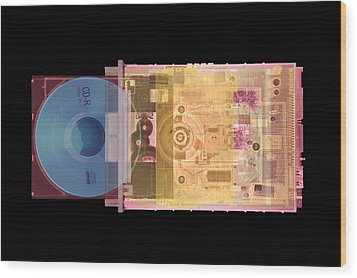Cd Drive, Coloured X-ray Wood Print by Mark Sykes