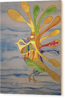 Cecilia The Psychedelic Seabird Wood Print by Erika Swartzkopf