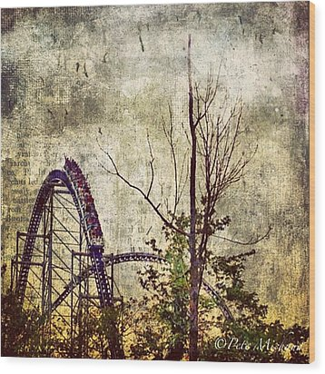#cedarpoint #rollercoaster #ohio Wood Print by Pete Michaud
