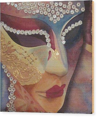 Celebration Mask Wood Print by Teresa Beyer