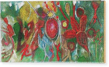 Celebration Of Life.. Be.. 7 Wood Print by Rooma Mehra