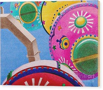 Celestial Ferris Wheel Wood Print by Glenda Zuckerman
