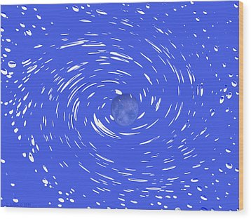 Celestial Swirl In Blue Wood Print by Grace Dillon