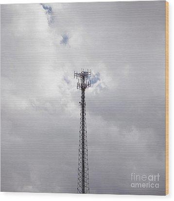 Cell Phone Tower Wood Print by Paul Edmondson